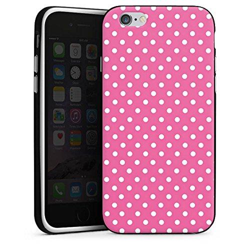 Apple iPhone 6 Housse Étui Silicone Coque Protection Points Rose vif Polka Housse en silicone noir / blanc