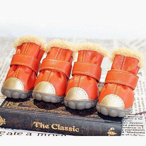 XiYunHan Pet Sneakers, Leder Skid Boot Baumwolle Winter Warm Oxford Boots 4 Stück Hund Stiefel 4 Farbe 5 Größe (Color : Orange, Size : 5#)