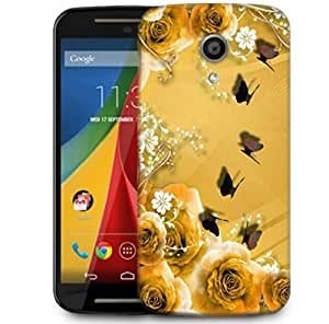 Snoogg Golden Roses And Butterfly Designer Protective Phone Back Case Cover For Motorola G 2nd Genration / Moto G 2nd Gen