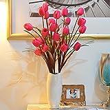 Beata.T Das Tulip Emulation Blume silk Blume Künstliche Blumen Blumen Home Decor und Wohnzimmer Bodenvasen, 5 Sticks von roten Tulpen + White Swan Vasen