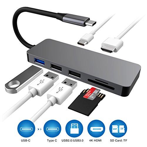 Hoplaza USB C Hub, 7-1 Typ C auf HDMI 4 K Adapter mit 3 USB-Ports SD/TF Kartenleser MacBook/MacBook Pro 2016/2017, HP Spectre X360/Dell XPS und Mehr (Wie Gehen Sie Auf Ein Datum)