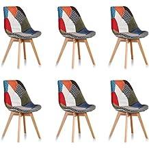 Designetsamaison Lot De 6 Chaises Scandinaves Patchwork