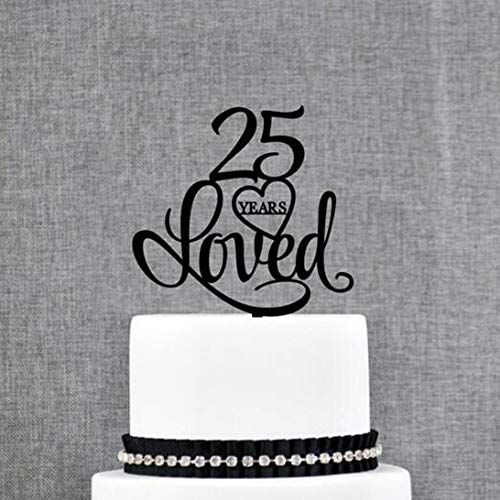 PotteLove Custom Date 25/40/60/85 years Loved Wedding Anniversary Cake Topper,Couple's Anniversary Decoartion Cake Topper Party Supplies