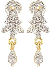 SKN Silver And Golden American Diamond Dangle & Drop Alloy Stud Earrings For Women & Girls (SKN-3347)