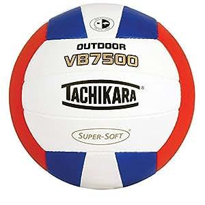 Tachikara Vb7500® Composite Ultra doux Cuir cousu extérieur volley-ball, mixte, Scarlet/Royal/White