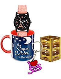 ME & YOU Printed Ceramic Coffee Mug, Pen Stand, Keychain and Watch (Multicolor)
