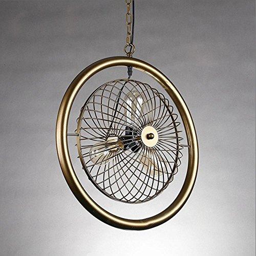 Retro Style Industriel Pendentif Lampe Ronde Forme de Ventilateur Lustre Plancher Plafond Suspension Éclairage Salle à manger Hallway Cuisine Suspendue E27 * 3