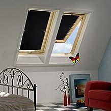 Auralum Store Occultant Sans Perçage 48×93cm pour Velux Fenêtre de Toit Réfléchissement de Chaleur Enduit de l'Argent avec Ventouse Rideau Noir