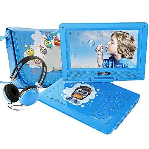 FUNAVO 9.5\'\' Tragbarer DVD-Player, Schwenkbaren Bildschirm, 4 Stunden Akku, Unterstützt SD-Karte und USB, mit Kopfhörer, Tragetasche, Auto-Ladegerät (Blau)