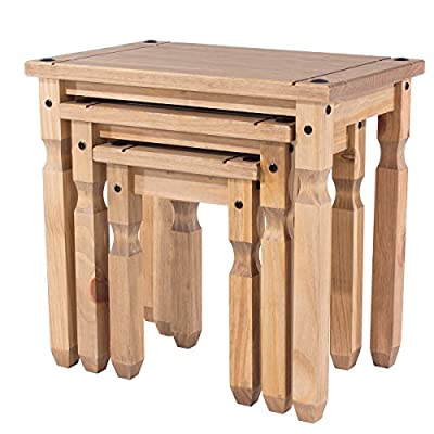 Mercers Furniture Corona Piccolo Nest of 3 Tables - Pine - low-cost UK light shop.