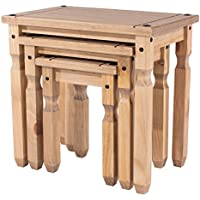Mercers Furniture Corona Piccolo Nest of 3 Tables - Antique Wax Pine (brown)