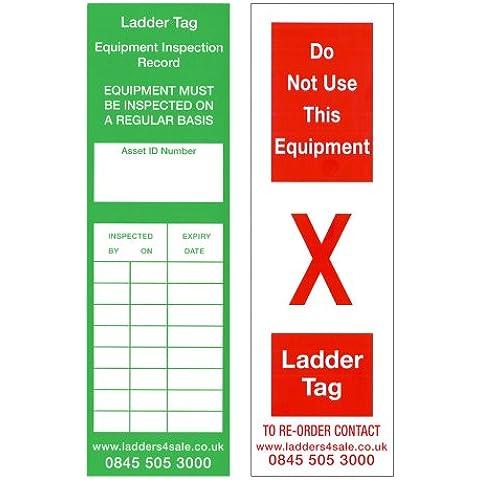 Ladders4Sale - Pack de 10 etiquetas de inspección para escalera de mano