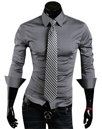 Haroty Uomo Camicie Slim Fit Moda Casual Maniche Lunghe Classiche Formale e Business Men Shirts Fashion Colore Solido Grigio