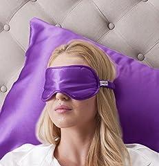 Idea Regalo - 100% Seta Mascherina per dormire 100% Silk Sleep Eye Mask, colore: lavanda