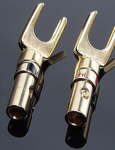 Preisvergleich Produktbild KLDZIDNI Lautsprecherstecker Bananen y Gabel-Audio-Plug-Lautsprecherkabel Stecker 01 rot + schwarz (2 Stück) KLDZIDNI&1420