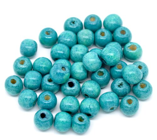 SiAura Material 200 Stück Holzperlen 9x10mm mit 3mm Loch, Rund, Blau zum Basteln -