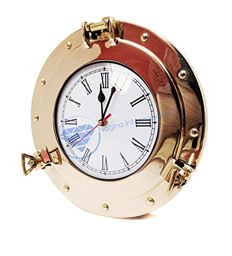 Premium Nautical Brass Porthole Clock   Pirate Ship's Elegant Metal Roman Dial Face Wall Clock   Home Decorative Gifts   Nagina International (Brass Porthole Clock)