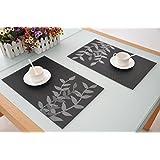 Set de table PVC Placemats Dining Table Sets Résistant à la Chaleur, élégants, décoratifs, nobles, 45 * 30cm, lot de 4 (argent noir)
