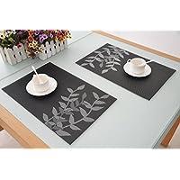 Placemats elegantes manteles individuales Salvamanteles comedor manteles para mesa de aislamiento de calor de la estera comer estilo Simple, 45x30cm, paquete de 4 (negro Plata)