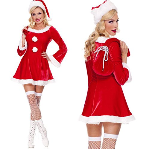 MFFACAI Frauen Fräulein Santa Kostüm Santa Damen Erwachsene Plus Size Kostüm Frauen Claus Fräulein Frau Outfit (Plus Santa Size Kostüm Frau)