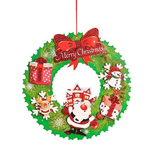 Hilai 1 PC von Weihnachtsschmuck hängt Kranz Weihnachten Anhänger Weihnachtsmann-Dekorationen für Weihnachtsbaum-Fenster-Tür-Wand-Decken-Dekor (Santa Claus)