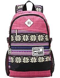 SAMGU Rétro Fleur Toile Voyage Randonnée Camping Backpack sac d'école cartable
