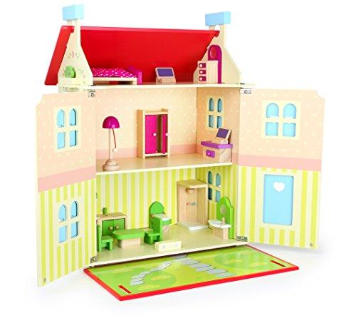 Small foot casa delle bambole in legno su 3 piani con tetto rimovibile e pareti apribili, 10736