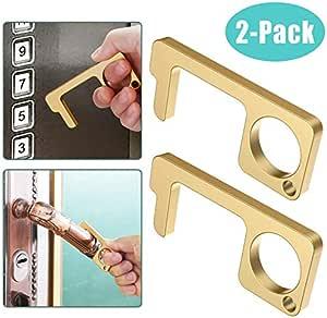 Contactless EDC Door Opener,zawason Brass No-Touch Door Opener Key Tool for Outdoor Public Door Handle Touchscreen Button Easy to Carry 2PCS Keep Hands Clean