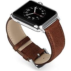Benuo Genuino Cuero Correa de Apple Watch 42mm Reemplazo Banda para Apple Watch Series 3-42mm / Apple Watch Series 1-42mm/ Apple Watch Series 2-42mm/ Apple Watch Series NIKE+ 42mm (Marron Oscuro)