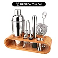 Barbieya 2 10 Pieces, Stainless Steel Shaker Cocktail Making Set,Large Drink Mixer Bamboo Stand,Perfect Home Bartending Kit(750ML)