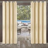 UniEco Outdoor Vorhänge Gartenlauben Balkon-Vorhänge Gardinen Verdunkelungsvorhänge mit Ösen, Vorhang Wasserdicht Mehltau beständig, Pavillon Strandhaus, 1 Stück (132 * 215cm)
