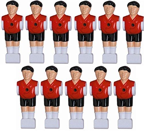11 Kickerfiguren für 16 mm Stangen inkl. Schrauben + Muttern Komplett Set (Schwarz-Rot) von Charlsten