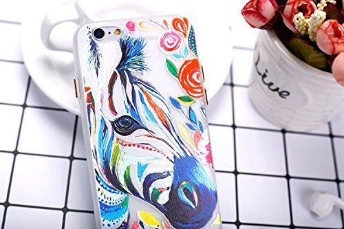 Felfy Coque Pour iPhone 6,iPhone 6S Silicone Case Cover Ultra Mince Slim Silicone élégant Gel Translucide TPU Souple Motif Design Noctilucent TPU Case Slim Fit Protection Case Coque Bumper Cas Housse  Zèbre Case