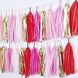 20x rot rosa gold weiß Hot Pink Seidenpapier Quasten für Party Hochzeit Gold Girlande Wimpelkette Pom Pom