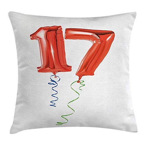 FAFANI 17th Birthday Decorations Throw Pillow Cushion Cover, Sweet Seventeen Party Balloons with Curl Ending Image, Decorative Square Accent Pillow Case, 18 X 18 Inches, Red Green and Blue (Bar Cap Curl)