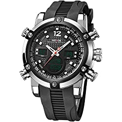 Alienwork DualTime Analogue-Digital Watch Chronograph LCD Wristwatch Multi-function Polyurethane black black OS.WH-5205J-01