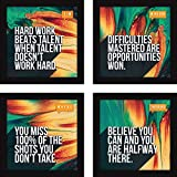 Motivational Office And Home Wall Paintings For Living Room-Inspirational Set Of 4 With Glass
