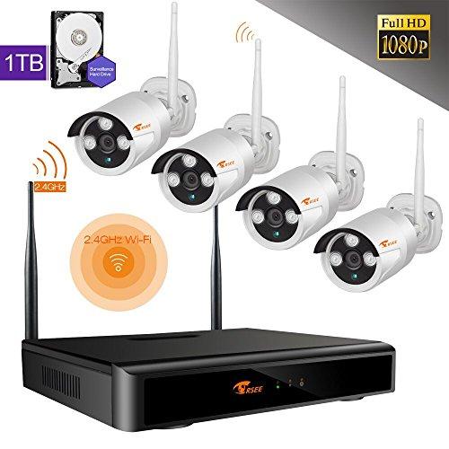 CORSEE Plug&Play 4 Kanal 1080P WIRELESS SYSTEM HD 2.0MP WLAN Outdoor Netzwerk Außen IP Überwachungskamera, Kabellos, Handy-View, Funk Überwachungsset Bewegungsmelder 1TB Lila Festplatte