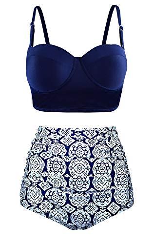 Stynice Bikini Damen Retro Polka-Punkt Bikini-Sets Neckholder Hoher Taille Badeanzug Polka Set