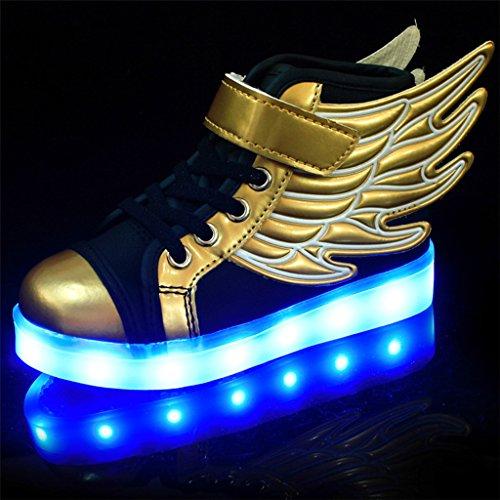7bc95f088813 DoGeek Scarpe LED Bambino Scarpe con Luci Luminosi Sneakers con Luce nella  Suola Bright Tennis Scarpe Ali USB 7 Colori Lampeggiante Trainners