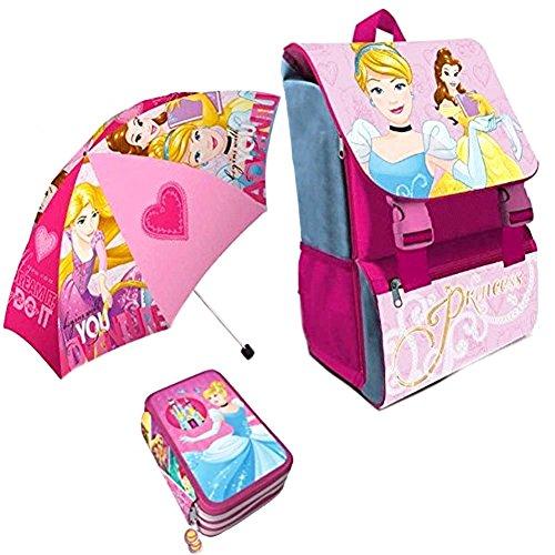 Kit Scuola 3 in 1 School Promo Pack Zaino Estensibile + Astuccio 3 Zip Accessoriato + Ombrello Salvaspazio Disney Princess Le...