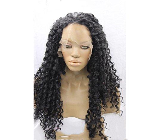 BKPH Lange Schwarz Lockig Perücke -Afro großes Haar Wellig Perücke für Frauen Weihnachten Halloween Karneval Cosplay Stilvoll Voller Kopf Bilden mit freier Kappe (Für Köpfe Große Perücken Halloween)