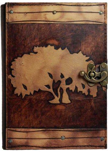 decoracion-arbol-de-la-vida-en-relieve-en-una-agenda-de-piel-marron-hojas-intercambiables-bloc-de-no