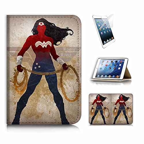 (für iPad Mini 4, Generation 4) Flip Wallet Schutzhülle & Displayschutzfolie Bundle. a20308Wonder Woman Super Hero