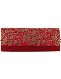 Mela Sequence Embroidered Exclusive, Partywear, Ethnic, Traditional, Women`s Cutch - Red