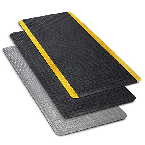 Anti-Ermüdungsmatte Heavy Duty | Arbeitsplatzmatte | Tire Tuff Struktur | Warnstreifen | Gelb-Schwarz | 60x90 cm -
