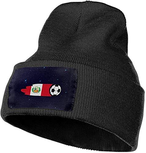 Hgfyef Niños y niñas Beanie Hat Galaxy Perú Flag Balón de fútbol Vintage con puño Liso Cráneo...