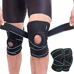 Rodillera de Neopreno, OFUN 2 Piezas Rodillera Menisco Ligamento con Estabilizadores Laterales y Almohadillas de Rótula en Gel para la Artritis, Dolor Articular, Dolor de Menisco, Deportes, Correr