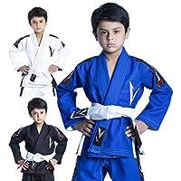 Vector Kids Brazilian Jiu Jitsu BJJ Gi cinturón Blanco sin con 100% algodón Kimono de Tejido de Pearl Ultra Ligero Tejido Preencogido, Azul