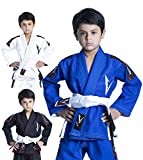 Vector Kids Brazilian Jiu Jitsu BJJ Gi with Free White Belt 100% Cotton